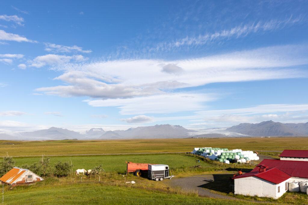 Guesthouse Nýpugarðar ● Blick auf die Gletscherzungen Skálafellsjökull, Heinabergsjökull und Fláajökull (von links nach rechts) ● ©2020