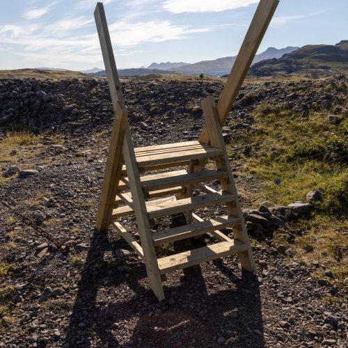 Weg zum Fláajökull ● Brücke über einen Schafszaun ● ©2020